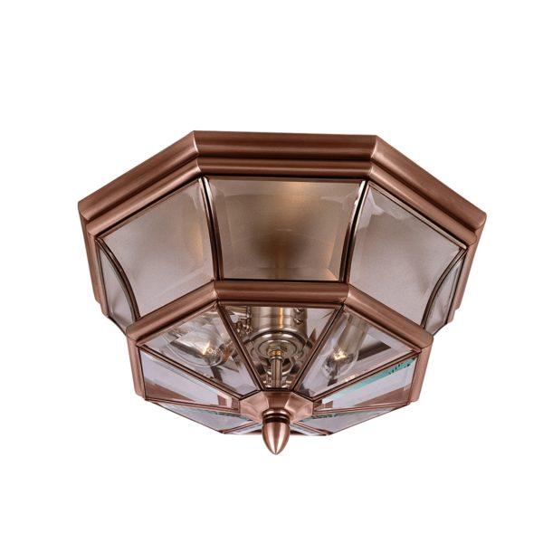Newbury Flush Mount Outdoor Light - Antique Copper