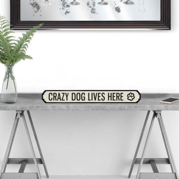 Crazy Dog Lives Here Vintage Street Sign